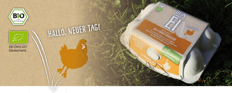 """Das Bild zeigt die Produktschachtel der Bio-Frühstücksklassiker, das sind Bio-Frühstückseier vom Hof Alpermühle und der Erzeugergemeinschaft. Das Hühnchen von Dein Land Ei hüpft ins Bild und sagt """"Hallo, neuer Tag!"""""""