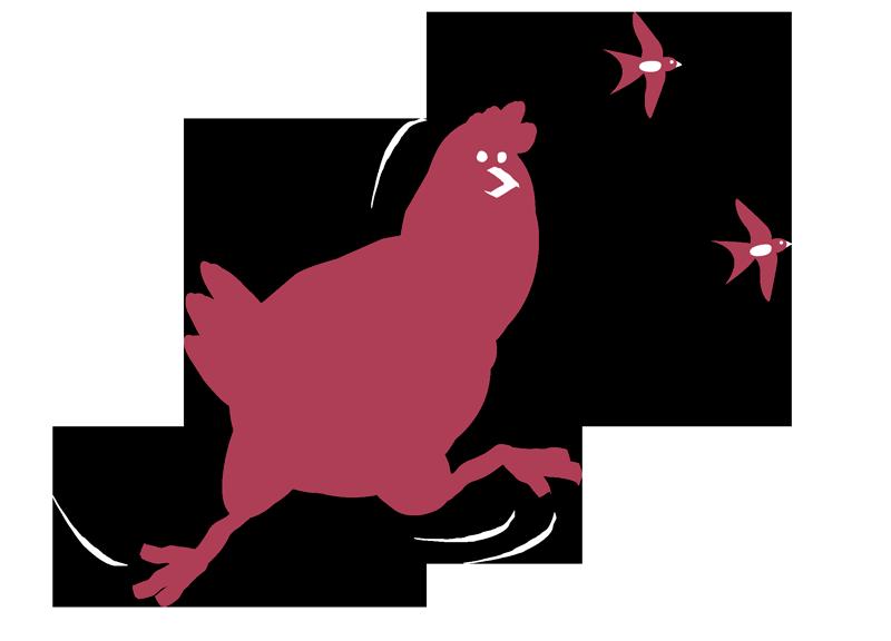 Illustration laufendes Huhn